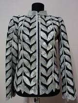 White Snake Pattern Leather Jacket Woman Coat All Size Zip Short Light C... - $150.00