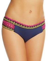NEW BECCA Navy Scenic Route Crochet Trim Tab Sides Bikini Swim Bottom S... - $19.79