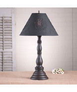 """DISTRESSED BLACK TABLE LAMP & 15"""" Punched Tin Shade - Primitive Handmade... - $263.95"""