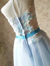 Girl Light Blue Flower Lace Dress High Waist Flower Girl Party Dress Birthday  image 7