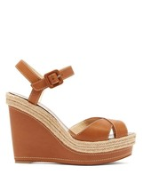 Christian Louboutin Brown Almeria Wedge 120mm Sandals New - $1,229.00
