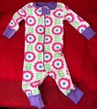 Hanna Andersson One Piece Pajamas Organic Cotton Purple Floral Girls 6-9... - $32.67