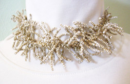 Seed Bead SPIKEY Tan Beige Choker Necklace Handcrafted Free Form Vintage... - $16.82