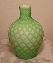 Mt Washington Green Cut Velvet Art Glass Vase - $250.00