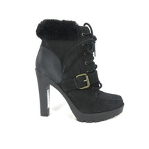 5.5 - LAUREN Ralph Lauren Black Platform SHEARLING Ankle Boots NEW 0815EB - $124.99
