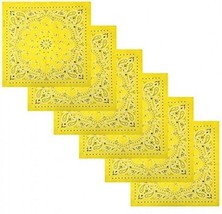 6 Pack Multifunctional Handkerchiefs Cowboy Square Bandana,Light Yellow - $21.85