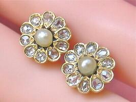 ANTIQUE VICTORIAN .60 ROSE DIAMOND PEARL 18K FLOWER CLUSTER STUD EARRING... - $985.05