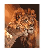 Frameless Lions Animals DIY Painting Numbers Acrylic Picture Wall Art Gift  - $15.83