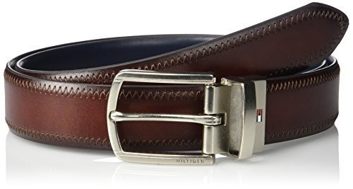 Tommy Hilfiger Men's 1 1/4 Inch Feathered Edge Stitched Reversible Belt,brown/bl