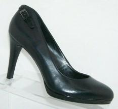 Franco Sarto Demi black leather buckle accent slip on platform heels 7.5M - $33.30