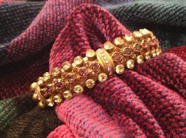 Pretty Sorrelli Cuff Bracelet Light Pink Gold 5 Inch Wrist crystal Elements - $168.29
