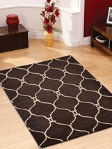Rugsotic Carpets Hand Tufted Wool 4'x6' Area Rug Geometric Brown Beige K... - $104.00