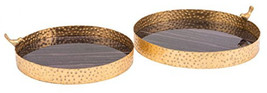 Zuo Onyx Tray (Set Of 2), Ple and Antique Gold - $61.70