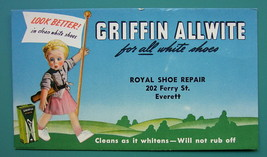 INK BLOTTER 1950 - GRIFFIN Allwite Shoe Repair Co. Everett, Massachusetts - $4.49