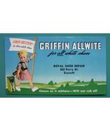 INK BLOTTER 1950 - GRIFFIN Allwite Shoe Repair Co. Everett, Massachusetts - $4.49