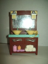 Fisher Price Loving Family Dollhouse Bathroom Vanity Double Sinks Hair D... - $14.84