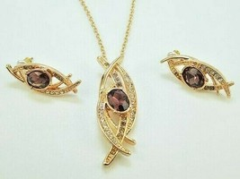 Avon Chocolate Shimmer Necklace & Earrings Set Warm Tones W/ Faux Gems NEW - $12.99