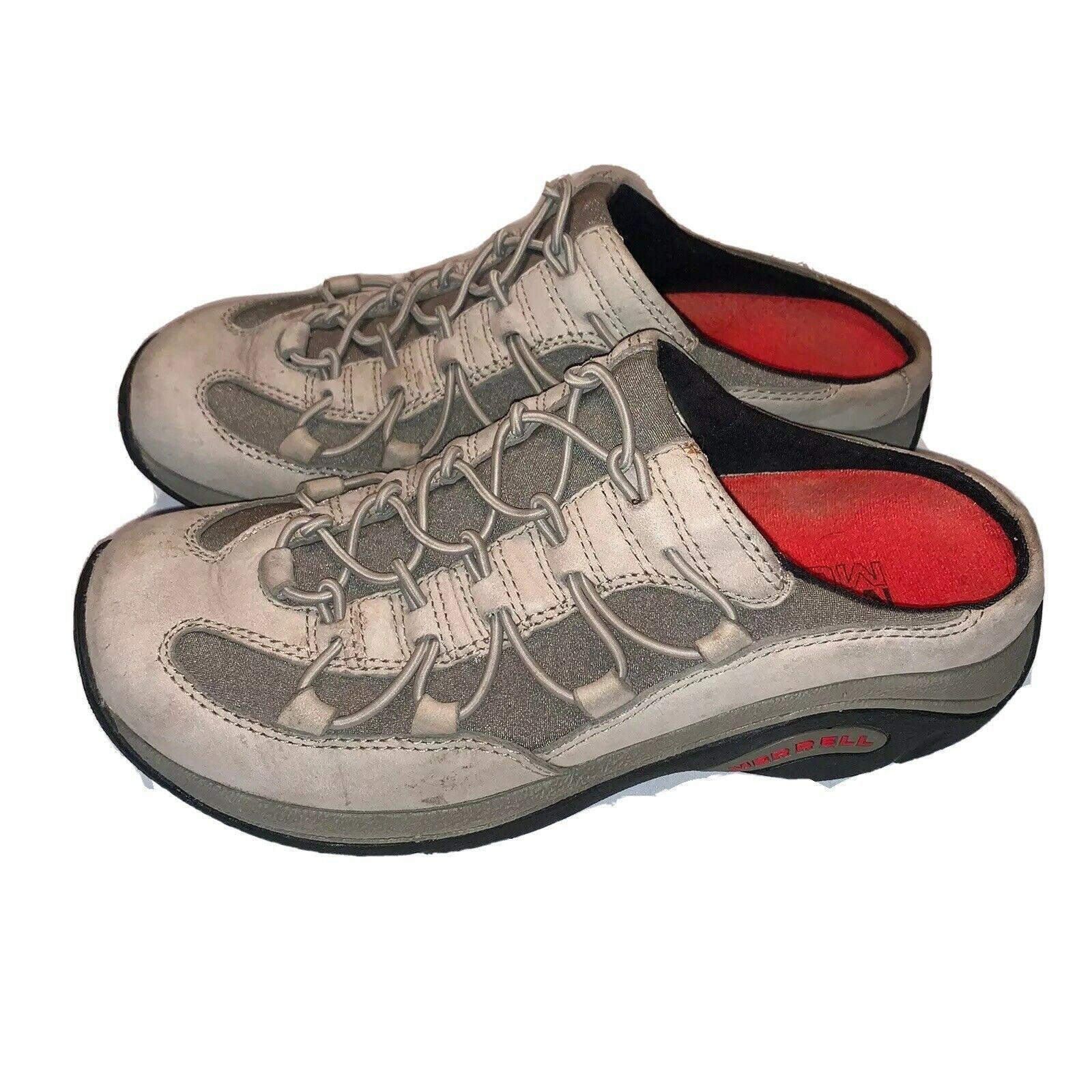 Merrell Womens 7.5 Cargo Net Slide Taupe Air Cushion Mules Clogs Comfort Shoe - $16.82