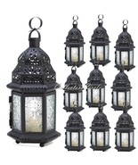 10 Frosted Clear Glass Moroccan Candle Lanterns Party Lights Wedding Cen... - $84.95
