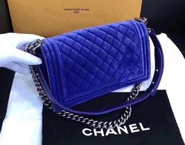 AUTHENTIC CHANEL ROYAL BLUE QUILTED VELVET MEDIUM BOY FLAP BAG SHW image 5