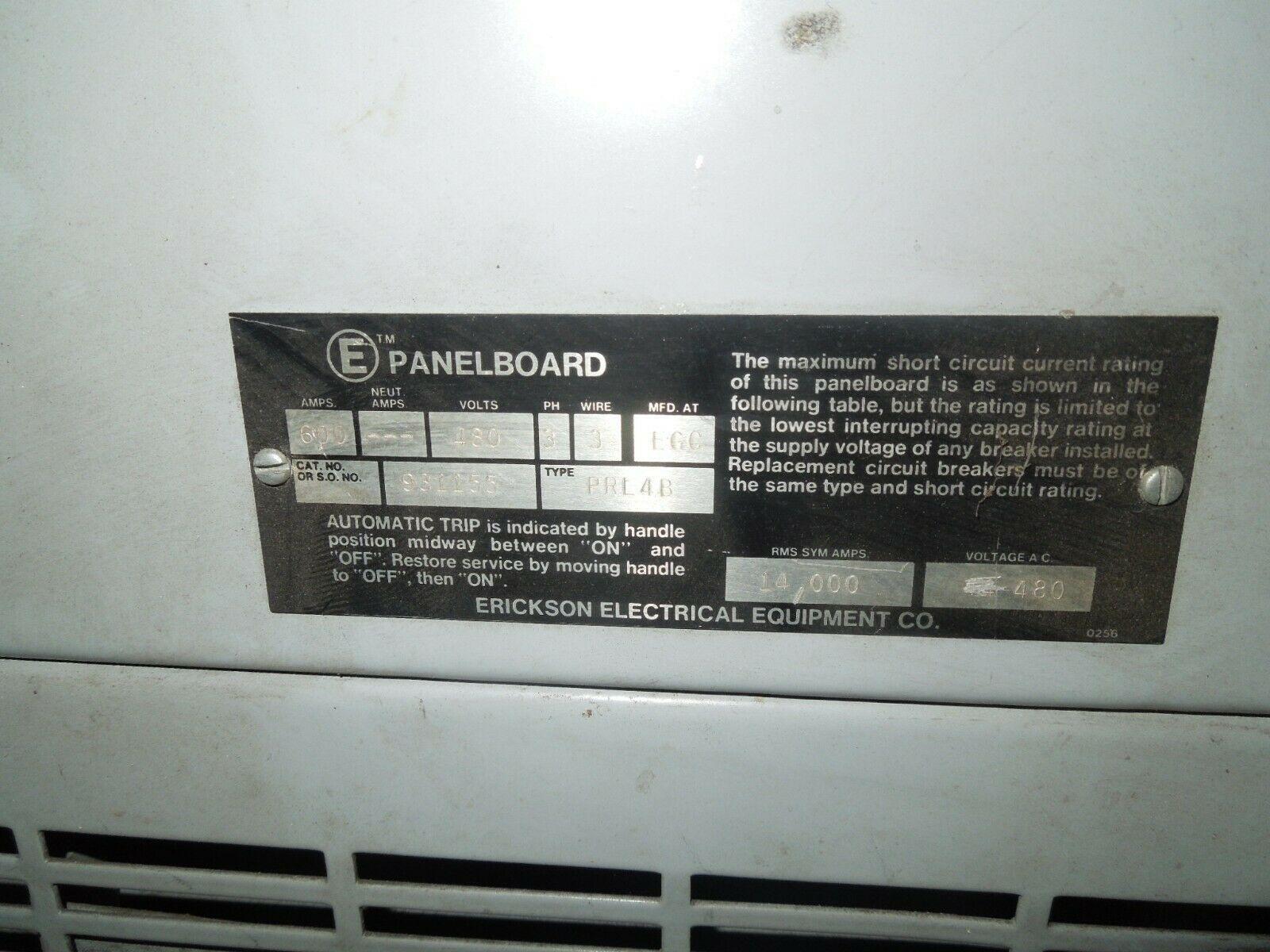 Erickson PRL4B E Panelboard 600A 3ph 3W 480V MLO Breaker Panel w/ Distribution - $3,725.00
