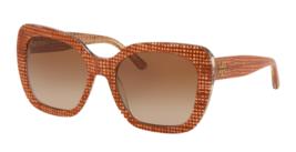 New TORY BURCH Sunglasses TY 7127 1737/13 Papaya Crystal on Raffia w/ Brown Fade - $199.95