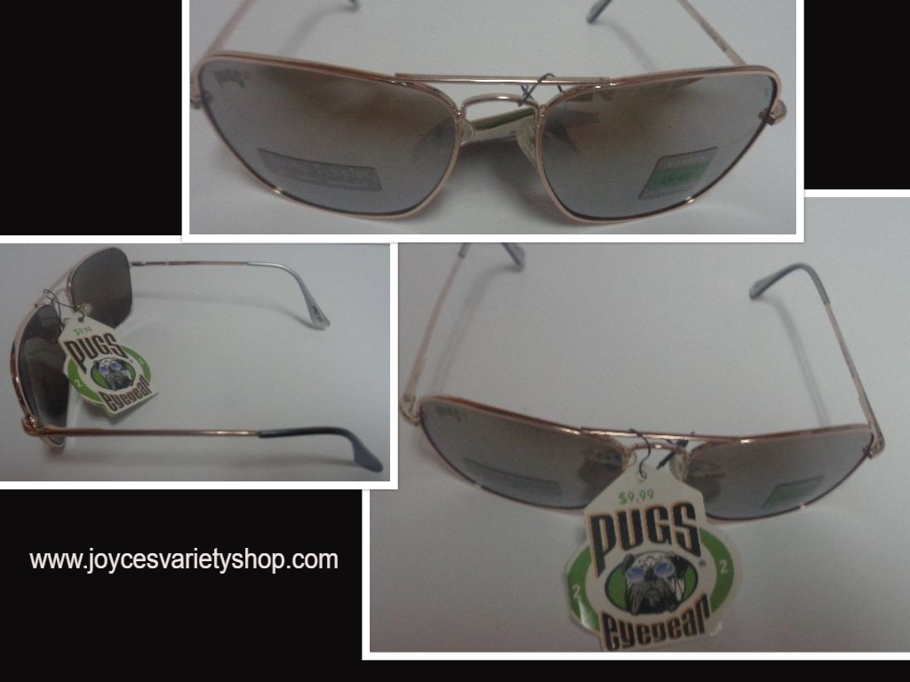 Primary image for PUGSGEAR Gold Metal Spring Temples Sunglasses NWT UV400 Protection