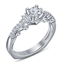 Solitaire With Accents Wedding Ring 14k White Gold 925 Silver Round Cut ... - $74.25