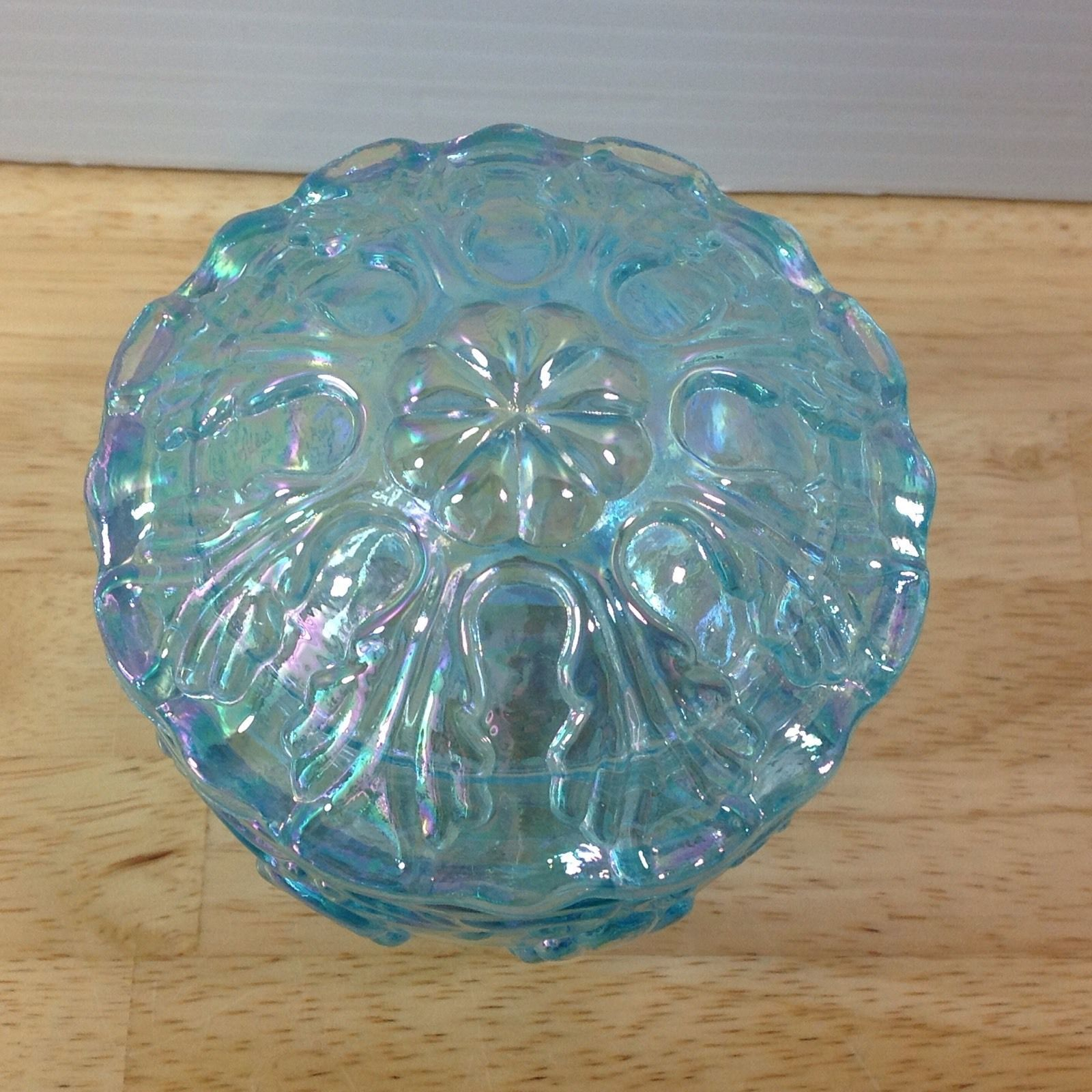 Fenton Blue Green Iridescent Trinket Box Carnival Glass Leaf Pattern Opalescent