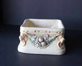 """Vintage Stamped WELLER Pottery """"ROMA"""" Creamware Square Planter Lions & F... - $35.00"""