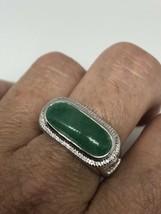 Vintage Green Jade Ring Silver Rhodium Size 8 - $64.35