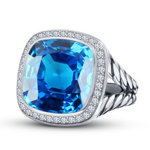 Cushion Cut Blue Topaz Womens Engagement Ring 14k White Gold Finish 925 Silver - £62.24 GBP