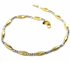 18K YELLOW WHITE GOLD BRACELET, ALTERNATE DIAMOND CUT BALLS & OVALS, SPHERE image 1