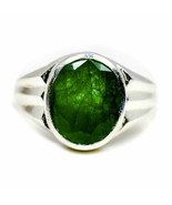 Natural Emerald Silver Ring Mark Style 7 Carat Stone Size K,L,M,N,O,P,Q,... - $46.33