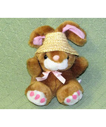 "7"" VINTAGE PREFERRED PLUSH BUNNY RABBIT STRAW HAT STUFFED ANIMAL 2001 BR... - $19.80"