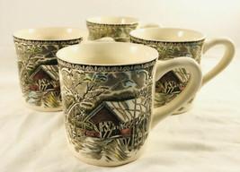 4 Johnson Brothers Friendly Village Covered Bridge coffee mug cup tea 8 oz  - $49.49