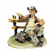 Capodimonte figurine sculpture signed Luigi Restile Gricci hobo bench pi... - $940.50