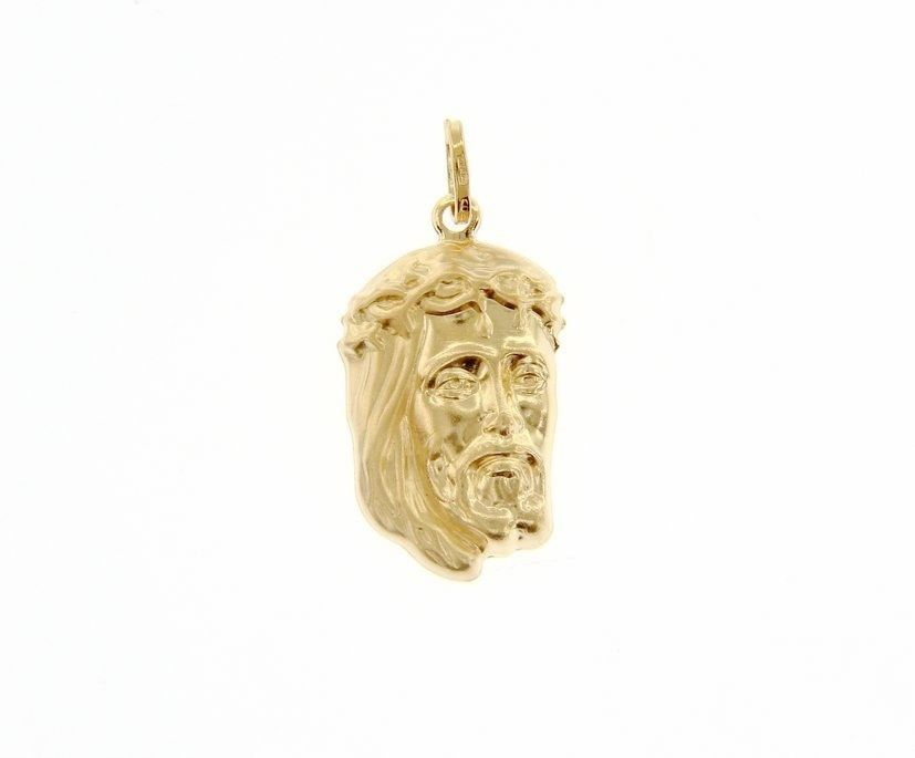 18K YELLOW GOLD JESUS FACE PENDANT CHARM 30 MM, 1.2 IN, FINELY WORKED ITALY MADE
