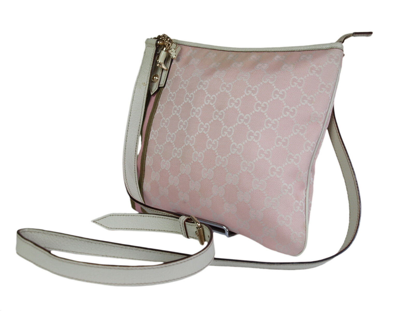 Authentic GUCCI GG Pattern Canvas Leather Pink Cross-Body Shoulder Bag GS1918