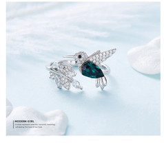 Hummingbird  Ring 925 Sterling Silver Jewellery  Crystals from Swarovski... - $34.25