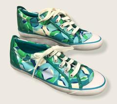 Women's Coach Barrett Shoes Blue Green White Kaleidoscope Print Size 7 B Lace Up - $14.80
