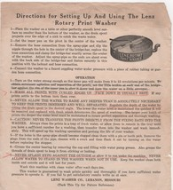 LENZ Rotary Photo Print Washer Directions for Setting Up (1970's) - $4.00