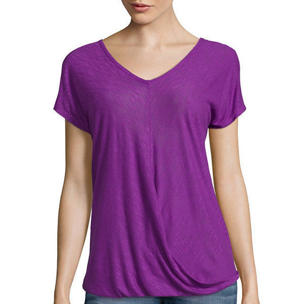 a.n.a Short-Sleeve Drape-Front Tee Size M New Purple Magic