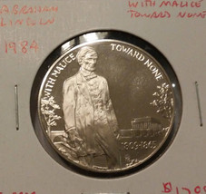 1984 Abraham Lincoln With Malice Toward None Proof Copper Nickel Medal - $13.50