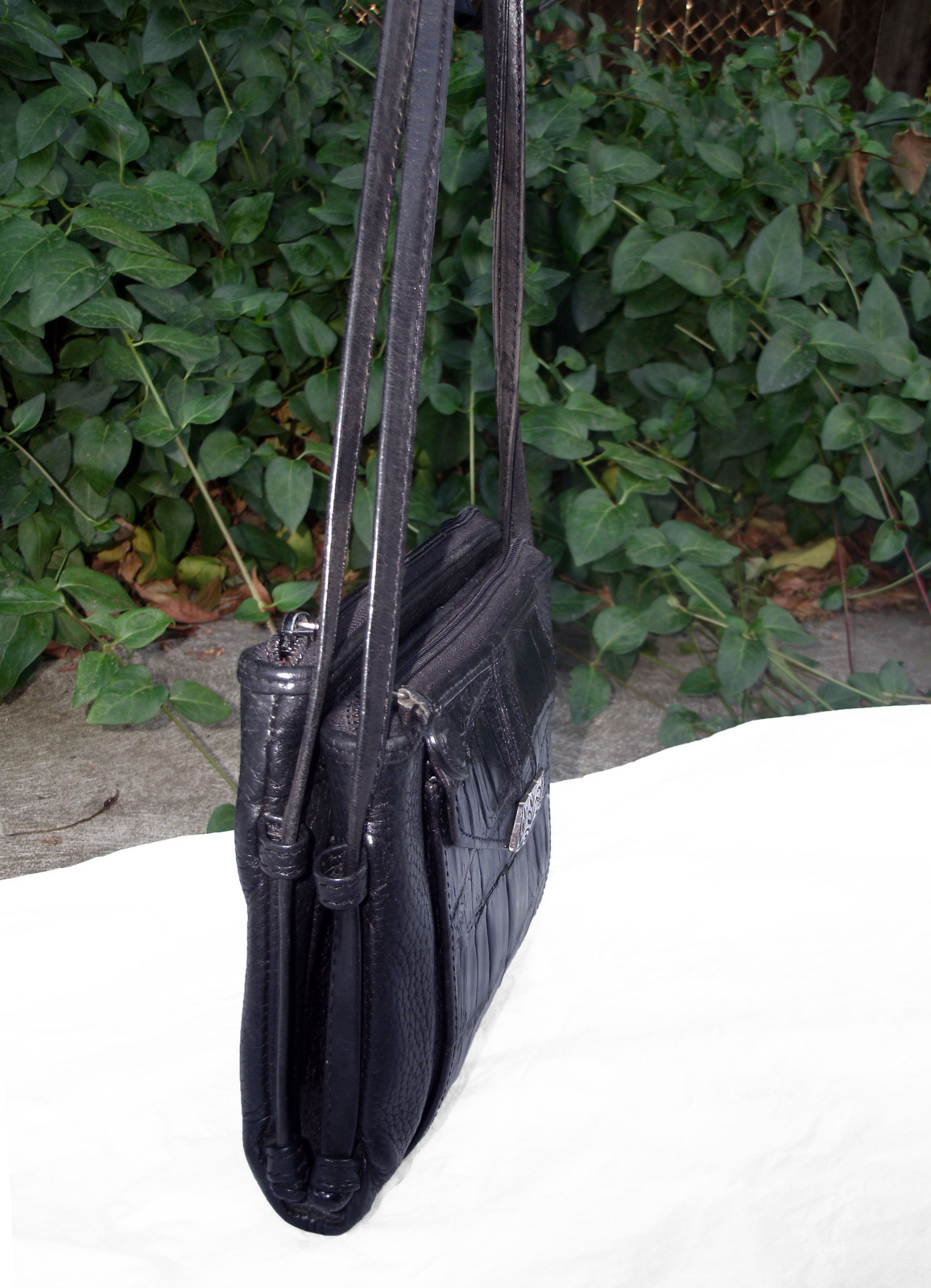 Brighton Croc and Pebbled Leather Cross Body Organizer Bag Black Silver Wallet image 5