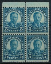 1927 5c Theodore Roosevelt Block of 4 US Postage Stamps Catalog Number 637 MNH