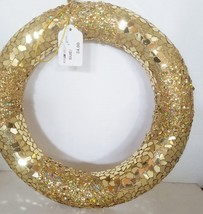 Gold Christmas Wreath Glitter and Large Sequins Can be Decorated - $22.44