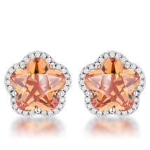 Floral Cut Champagne CZ  Stud Earrings - $32.00
