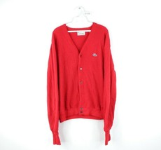 Vtg 80s Izod Lacoste Mens XL Croc Logo Full Button Cardigan Sweater Red ... - $59.35
