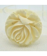 Vintage Large Off White Flower Celluloid Pin Brooch Deeply Carved - $39.60